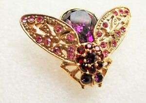 VINTAGE PINK PURPLE CRYSTAL BEE INSECT BROOCH GOLD TONE