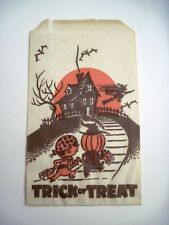 Vintage Halloween Tissue Candy Treat Bag w/ Children In Costume *