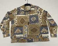 Alfred Dunner Short Sleeve Button Down Blouse Shirt Top Geometric Pattern Sz 20