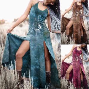Medieval Viking Women Sleeveless Dress Carnival Party Costume Halloween Cosplay