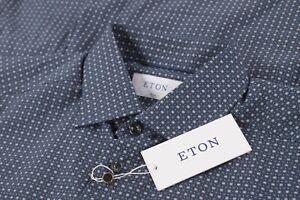 Eton NWT Dress Shirt Size 16 41 Slim In Dark Blue W/ Gray & Blue Geometric