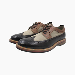 Clarks Mens Leather & Canvas Longwing Tan Brown Leather Brogues Shoes UK 10
