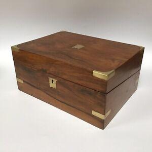 Antique Brass Mounted Ladies Writing Box Slope Perfect Ipad Box