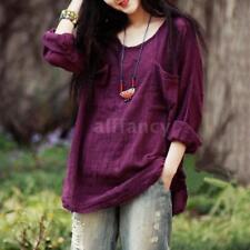 Women Long Sleeve Blouse Shirt Casual Loose Mini Dress Spring Tee Tops K0n0 Purple 3xl (us12 Uk16 Eu42)