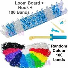 Loom Board + Hook + 100 Random Loom Bands looms bandz Rubber Bracelet Tool Kit
