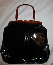 50's vintage midcentury patent leather with brown lucite frame handle pin up bag