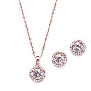 Mariell Ultra Dainty 10.5mm Cubic Zirconia Round Halo Necklace & Stud...