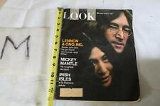 1969 LOOK MAGAZINE~MICKEY MANTLE RETIRES~Beatles John Lennon & Yoko Ono