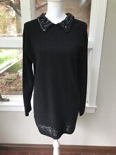 Vintage 80s 90s Michelle Nicole Lambswool Angora Sequins Sweater Dress Mini S
