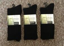 6 PAIRS BLACK ORGANIC BAMBOO LOOSE TOP HEALTHY DIABETIC NO SEEM SOCKS 11-14