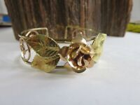 Vintage Krementz Gold Filled Tri Color GF Rose Leaf Flower Cuff Bracelet RP3