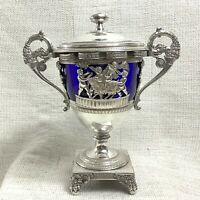 Antique Caviar Bowl Urn French Silver Plated Glass Twin Handled Malmaison RARE