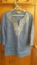Women's M blue beaded tunic top - JM Collection