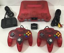 WATERMELON RED Nintendo 64 Console + HOOKUPS + 2 NEW N64 CONTROLLERS + JUMPER