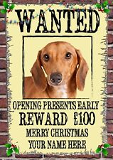 Dachshund Christmas Wanted Card Xmas A5 Personalised Greeting Cards CHW15