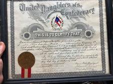 1928 UDC Daughters Of The Confederacy Membership Certificate South Carolina