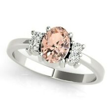 New Ladies 14k White Gold Diamond And Morganite Oval Cut Right Hand Ring