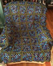 NEW! Handmade Granny Square Afghan - Turquoise, Purple & Olive - Acrylic Yarn