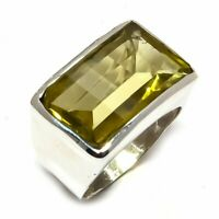 Lemon Topaz Natural Gemstone Handmade 925 Sterling Silver Ring Size 7.5 R-53