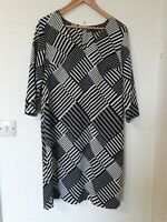 M&S Floaty Lined Shift Tunic Dress Abstract Pattern Smart Size 12