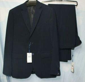 Mango Men's Navy 2 Piece Slim Fit Suit Size UK 40 32 New With Tags NWT