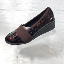 Ros Hommerson Erica Women's Wedges Brown Croc Prints Patent Leather Size 7 WW