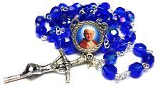 Saint Pope John Paul II crystal blue rosary 3rd class RELIC JP2 KAROL WOJTYLA