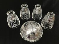 """5 Etching Crystal Lamp Shade, 5"""" T, 2"""" Fitter (4 Shades), 4 3/4"""" T x 3"""" Fitter"""