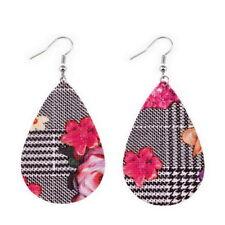 New PU Leather Teardrop Earrings Tartan Plaid Pattern Handmade Boho Jewelry