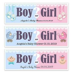 PERSONALISED GENDER REVEAL BABY SHOWER PARTY NAME BANNERS DECORATIONS