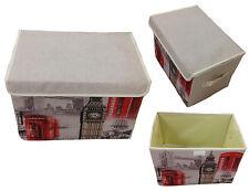 Storage Box with Lid Upholstered Paris Car Box Organizer 38x26x26 Lein