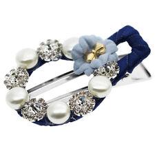 Luxury Navy Diamante Round Circle Pearl Head Slide Hair Clip Accessories HA304