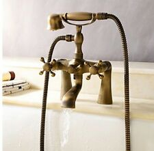 Telephone Style Bathtub Mixer Tap Antique Brass Hand Shower Deck Mounted Faucet-