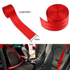 3.6M Auto Car Truck Seat Belt Webbing Retractable Safety Strap Red Universal