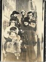 GROUP PORTRAIT Vintage FOUND PHOTOGRAPH Winter Women bw Original ANTIQUE 012 14