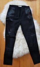 Sandro Black mix media Satin Viscose Womens Dress Career Pants Trousers Silk 36