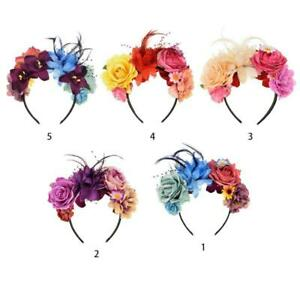 Women Day of The Dead Mexican Headband Contrast Colored Artificial Rose Flower