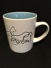 Woof White Coffee Mug with Etching of Variety of Dog Breeds Blue Interior 12 oz