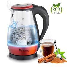 2200 Watt Glas Wasserkocher 1,7 Liter mit LED Beleuchtung Blau BPA Frei Rot