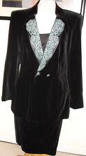 ESCADA SIGNATURE BLACK VELVET 3PC SUIT DRESS 42 $2895