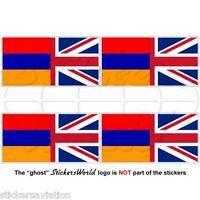ARMENIA-UK Flag Armenian-United Kingdom British Union Jack 50mm Sticker-Decal x4