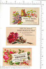 5854 Trade cards (3) Wattles & Sheafer, George W Biggs, W H Fuller Pittsburgh PA