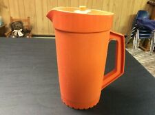 Tupperware Orange Pitcher 800-7 with White 801-1 Lid (Good)