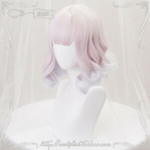 Harajuku Sweet Lolita Cosplay Pink Gradient Short Hair Woman's Daily Party Wig