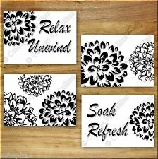 Black White Bathroom Wall Art Prints Pictures Floral Quote Unwind Relax Soak +