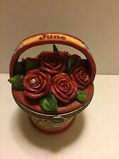 Jim Shore June Rose Flower Basket Trinket Box Hinged New 2012