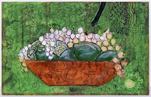 Mid Century Modern Fruit Still Life Painting by Riggs 1969 Limes Grapes