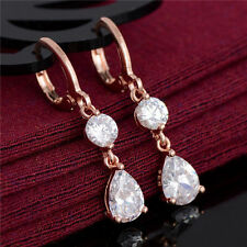 New 18K Rose Gold Filled Clear White Round & Pear CZ Dangle Drop Hoop Earrings
