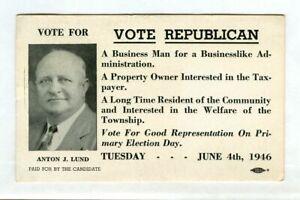 Vintage 1946 VOTE REPUBLICAN Primary Ink Blotter! Anton J. LUND (Woodbridge NJ)