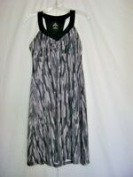 prAna Yoga Dress Gray Black Stripe Women's Sz S Stretch Built in Bra Athleisure